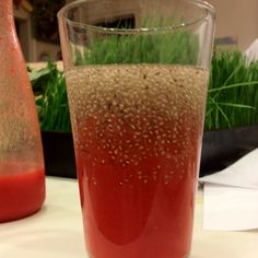 Fresh organic strawberry and chia drink.