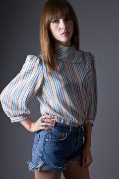 Vintage Rainbow Stripe Kerchief Neck Blouse