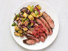 Balsamic Flank Steak, Flank Steak Recipes, Food Network Recipes, Food Processor Recipes, Roast Eggplant, Rib Recipes, Dinner Recipes, Healthy Recipes, Eggplant Recipes