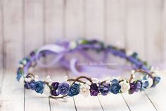 Bridesmaid hair accessories, Violet hair wreath, Floral crown, Flower crown wedding, Purple flower crown, Flower headband, Bridal wreath
