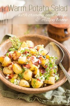 warm potato salad with goat cheese and bacon