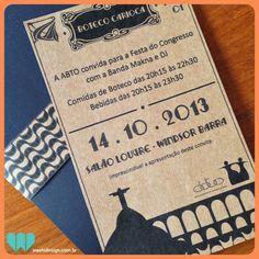 Convite em papel kraft para evento Boteco Carioca organizado pela ABTO | WASHI Design