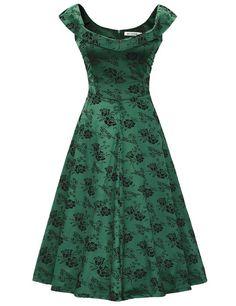 MUXXN Women's 1950s Scoop Neck Off Shoulder Cocktail Dress(XL,Green)