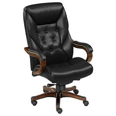 Kingston Traditional Tufted Leather Executive Chair // Want to know if this will fit in your home office? Use #VirtualVisit to talk to furniture experts through a live, one-way video stream.