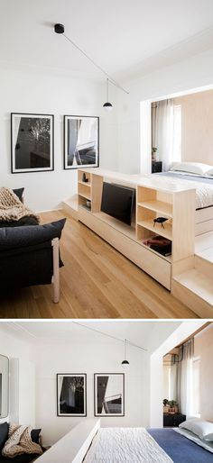 The main room in this small apartment is home to both the living area and the sleeping area. A custom designed platform includes an entertainment unit and open shelving at the end of the bed.