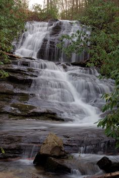 Merry Falls near Asheville, NC. What a gorgeous roadside waterfall, near DuPont State Forest.