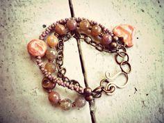 Crackle Agate Brown Peach Pink & Lavender by McKeeJewelryDesigns