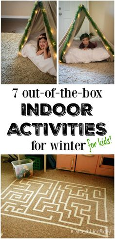7 Out-of-the-box Indoor Winter Activities for Kids 7 Out-of-the-box Indoor Activities for Winter! We set up a tent in the living room today and can't wait to make the maze tomorrow! One of my favorite kid's activities lists yet! Winter Activities For Kids, Family Activities, Indoor Kid Activities, Camping Activities, Camping Ideas, Indoor Activities For Children, Kids Indoor Play, Indoor Games For Kids, Camping Games