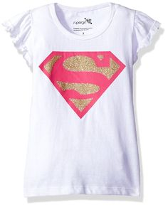 Warner Brothers Girls' Supergirl Tee Shirt Rushing on sleeve Screen-print with glitter on shirts Superman Shirt, Supergirl And Flash, Girls Tees, Shirts For Girls, Dc Super Hero Girls, Short Sleeve Tee, Tee Shirts, Warner Brothers, T Shirts