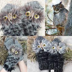 Knit Owl Gloves Gray Hand Knit Mittens Gray Wrist Warmers Owl