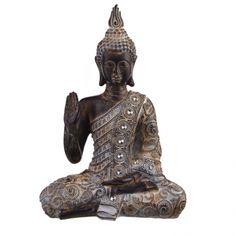 STATUE Buddha Polyresin Sitting Hand Up 23x13x33cm   Karma Living