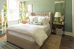 Build Character - Best Houses of 2016 - Southernliving. For our 50th Anniversary Idea House, Associate Decorating Editor Elly Poston designed a bedroom and bath featuring the Southern Living Collection for Dillard's. Starting with the traditional Hayward Bed in Taupe and a mix of classic white bedding (Cotton Percale Sheet Set, Emery Tile Jacquard Matelassé Coverlet, and Heirloom Sateen