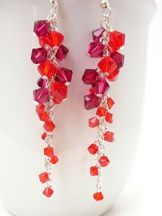 Red Swarovski Crystal Earrings Long Red by CameronsJewelryBox