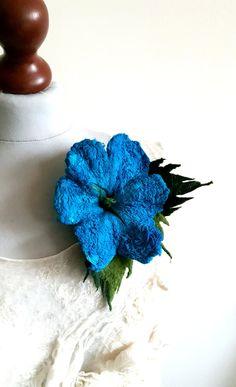 Flower brooch felted brooch felted flower blue flower   Etsy