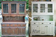 Before and after dining room hutch - makes those 70s style hutches seem reasonable to buy and update.