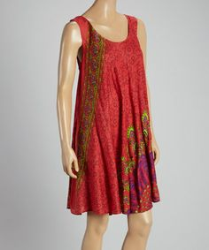 Another great find on #zulily! Red Arabesque Sleeveless Shift Dress - Women by Coline USA #zulilyfinds