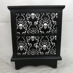 Mini chest of drawers with skull and crossbones theme by Nacreous Alchemy
