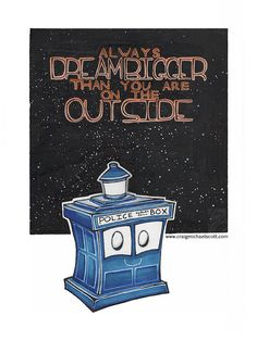 TARDIS Kids PRINT Nursery Wall Art Doctor Who Inspired Dream Bigger Space 5x7 8.5x11
