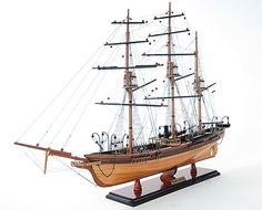 """CaptJimsCargo - CSS Alabama Wooden Steam Tall Ship Model 32"""" Civil War Raider, (http://www.captjimscargo.com/model-tall-ships/warships/css-alabama-wooden-steam-tall-ship-model-32-civil-war-raider/) A painted version of this Confederate Raider model is also available."""