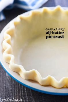This flaky, tender, All-Butter Pie Crust is unbelievably EASY to make from scratch with a few tricks and tips and just FOUR ingredients! Quiche Pie Crust, Easy Pie Crust, Homemade Pie Crusts, Fun Baking Recipes, Donut Recipes, Pudding Recipes, Cooking Recipes, Baking Tips, Pie Dough Recipe