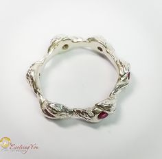 Small Leaves Ring with Pink Zirconia Stones