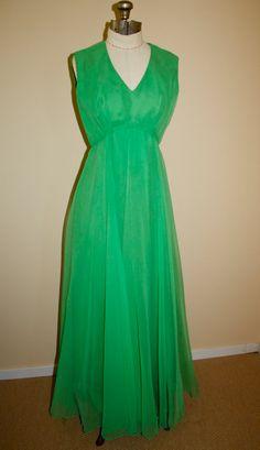 I MAGNIN 70s chiffon over polyester sleeveless by shyvioletvintage