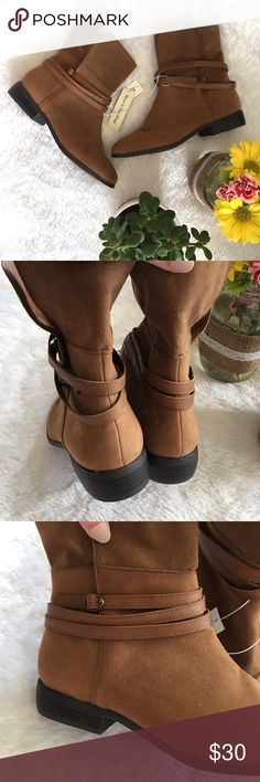 "NEW Brown Booties, Suede Ankle Boots, Fold Over NEVER BEEN WORN! Stunning booties from Old Navy, tags still attached! ""Wear if two ways"" convertible, can be worn with the sides up or folded down. Straps that wrap around the boots. Sturdy black soles. Brown / cognac colored main body. Great condition and comfortable shoes! Shoes Ankle Boots & Booties"