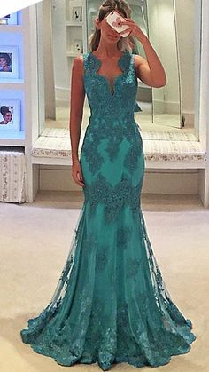 db291836f1 MACloth Straps V Neck Lace Long Prom Dress Fuchsia Lace Formal Gown. Teal  ...