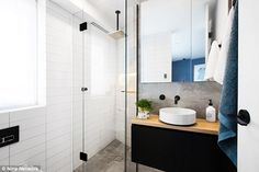 Bathroom: Each of the three bedrooms feature ensuite facilities, and again lavish textures and finishes are showcased in these glossy spaces Bathroom Trends, Bathroom Inspo, Bathroom Colors, Bathroom Inspiration, Bathroom Ideas, Bathroom Vanities, Reece Bathroom, Laundry In Bathroom, Bathroom Black