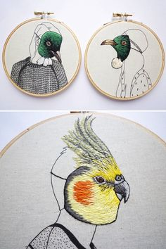 Surreal hand embroidery by Amy Jones #embroidery #handembroidery #hoopart