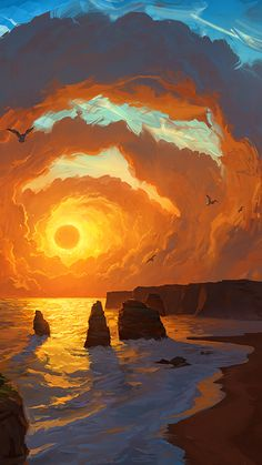 Fantasy Landscape, Sunset, Clouds, 40 Simple and Easy Landscape Painting IdeasOriginal Oil Painting Modern Large Wall Art Decor…Simple Landscape Painting / 154 / Relaxing / Purple… Fantasy Artwork, Fantasy Names, Anime Artwork, Character Inspiration Fantasy, Story Inspiration, Design Inspiration, Landscape Wallpaper, Landscape Background, Fantasy Background