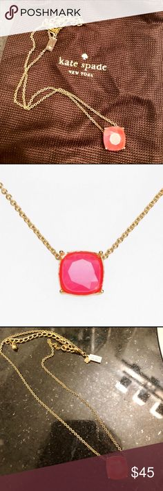 Kate Spade Cause a Stir Necklace in Pink Gorgeous, barely worn. Bright, fun and elegant! kate spade Jewelry Necklaces