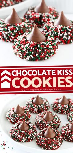 Chocolate Kiss Cookies are decadent treats rolled in festive sprinkles and topped with a chocolate kiss. These Christmas cookies are guaranteed to be a holiday hit and give a dose of fun and… More Köstliche Desserts, Holiday Desserts, Holiday Baking, Holiday Treats, Christmas Baking, Holiday Recipes, Holiday Parties, Xmas Cookies, Yummy Cookies