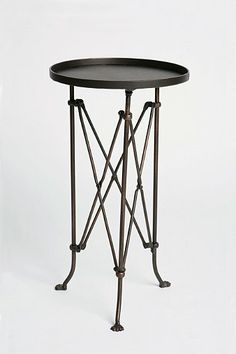 Side Table Between LR Accent Chairs | Metal Accordion Side Table