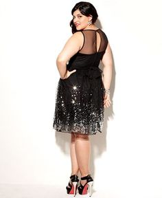Ruby Rox Plus Size Dress, Sleeveless Sequin Illusion - Plus Size Dresses - Plus Sizes - Macy's