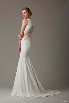 lela rose bridal spring 2016 the paddock sleeveless mermaid wedding dress sheer lace panel back