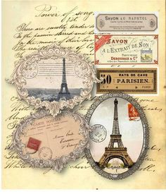 French Labels Paris Embellishments Digital Collage Sheet Scrapbooking Supplies Set No.341. $4.00, via Etsy.