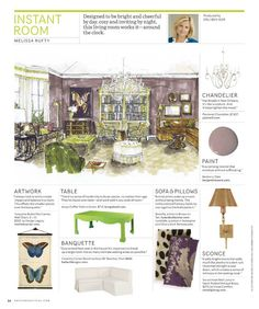 Instant Room from House Beautiful Magazine Beautiful Homes, House Beautiful, Sofa Pillows, Design Reference, My Coffee, Presentation, Chandelier, Table Decorations, Living Room