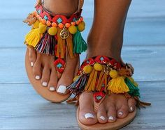 Pom pom Sandals Greek leather sandals Boho by DimitrasWorkshop