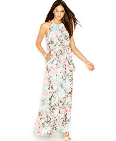 Jessica Simpson Sleeveless Halter-Neck Floral-Print Maxi Dress