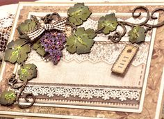 """Scrap Escape: Two Different Looks -Grape Vine Cards With DIY Tutorial Beautiful detailed grapevines  from Creative Embellishments.   Can't paint?  Neither can I.  Don't let that scare you away from chipboard.  Learn the """"Jen Cheat method"""" of chipboard painting.  It's so clean and simple, it will make you smile.  Papers from Stamperia.   #chipboard #CreativeEmbellishments #Stamperia #grapevines #DIYcards"""