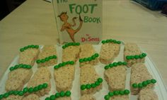 Read the Foot Book to my daughter's class then celebrated with feet treats. I used a cookie cuttter in the shape of a foot and cut out rice crispy treats and decorated the toes with M & M's. Great alternative to peanut butter cookies if someone in the class has peanut allergies.