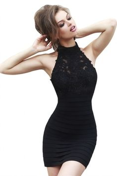 Enthrall with charm in Sherri Hill This elegant cocktail dress features high neckline and keyhole back designs. A mid thigh length skirt will make you look lovely. Homecoming Dresses Tight, Black Prom Dresses, Trendy Dresses, Tight Dresses, Sexy Dresses, Cute Dresses, Beautiful Dresses, Dress Outfits, Evening Dresses