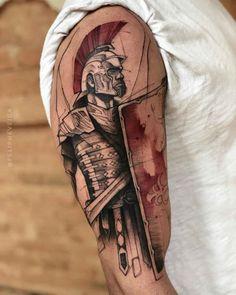 shoulder tattoo roman soldier Source by dubuddhatattoo Tattoos 3d, Dope Tattoos, Unique Tattoos, Body Art Tattoos, Sleeve Tattoos, Tattoos For Guys, Spqr Tattoo, Gladiator Tattoo, Tatuaje Spqr