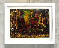 TITLE: Dark forest. This image in 100 per cent is painted by hand, mixed media, painted  on the high quality, chalk overlay paper.  Yellow, red, green, contrast with the dark forest.   Beautiful colors, very visible texture. Super gift to the interior. Framed image in white, wooden frame.  The image contains the signature and the authenticity certificate.  Size of the painting image 13,58 x 10.83 inches 34,5 x 27,5 cm