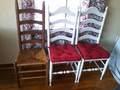DIY Ladder back rush seat chair makeover upcycle.  $25 chairs from resale site, $10 can of paint, $12 IKEA seat cushions