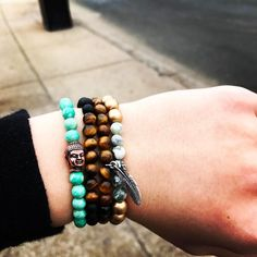 This is my favorite stack - what do you think?  www.newreignco.com http://ift.tt/2ljDkKI  #newreignco #beadedbracelets #bracelets #getyourstoday #armcandy #beads #stretchbracelets #accessories #womensaccessories #boston #jewelry #beadedjewelry #handmade #madeintheusa #stackedbracelets #stacksonstacks #etsyshop #yogabracelet