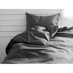 IKEA GÄSPA Duvet cover and pillowcase(s), dark gray (425 SEK) ❤ liked on Polyvore featuring home, bed & bath, bedding, grey, ikea, dark grey bedding, twin bedding, queen bedding, king bedding and gray king size bedding