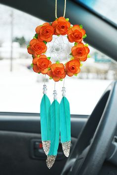Orange and Turquoise Car Dreamcatcher: Car Accessory for