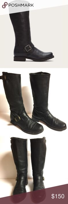 """Frye Veronica Slouch Engineer Tall Leather Boots This is the boot you wear leaning against the wall at local dives, inspiring people to wonder who the mysterious woman is. A tough engineer boot w/a soft, relaxed fit, crafted from soft vintage leather. The rubber lug sole gives you traction when it's suddenly time to up & go. - all Leather, shaft, lining & outsole; Style #76602 - bigger calves? No problem! Circumf 15"""" - 16.5; EUC w/minimal use. Inside has residual of a tag (See pic). 1st…"""